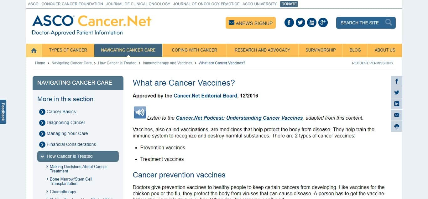 Cancer Vaccines - article 2