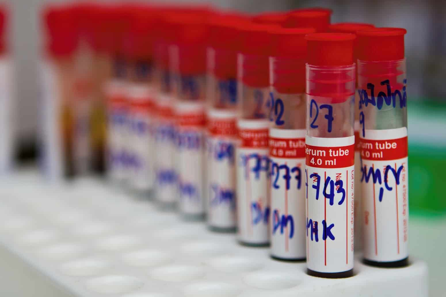 Test tubes with numbers